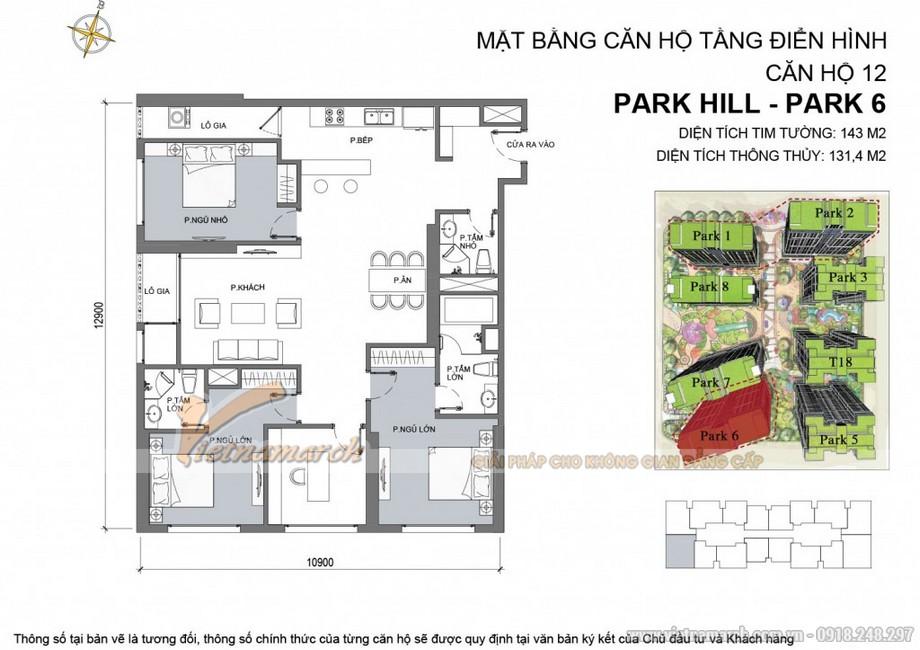 Căn hộ Park 6 - 12 - Diện tích tim tường 143m2 - Diện tích thông thủy 131,4m2