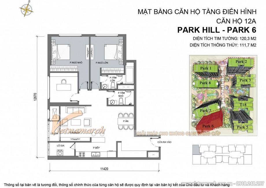 Căn hộ Park 6 - 12A - Diện tích tim tường 120,3m2 - Diện tích thông thủy 111,7m2