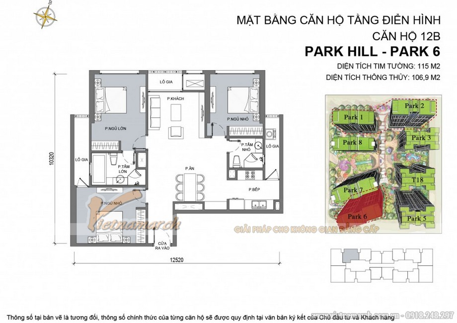 Căn hộ Park 6 - 12B - Diện tích tim tường 115m2 - Diện tích thông thủy 106,9 m2