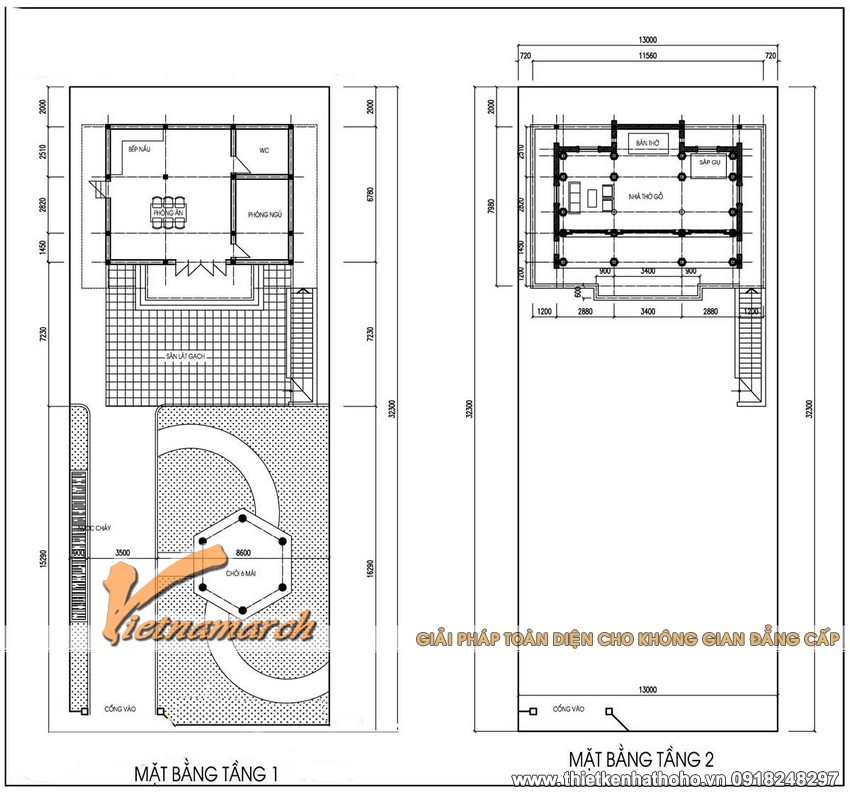 Bản thiết kế nhà thờ họ 2 tầng cho ông Hoàng ở Nghệ An