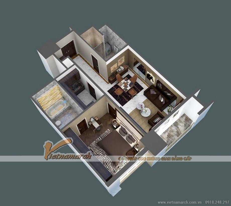 Mặt bằng cải tạo phương án tối ưu cho căn hộ B chung cư D'. LE ROI SOLEIL – Quảng An – Tân Hoàng Minh
