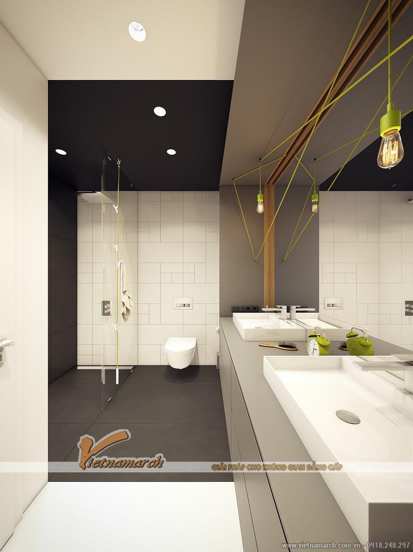 Nội thất phòng tắm được thiết kế hiện đại và sạch sẽ, gọn gàng tạo không gian thoải mái
