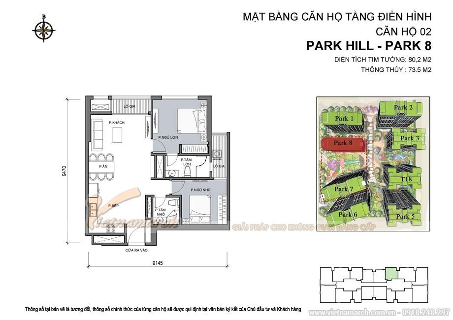 Mặt bằng căn hộ 02 Park 8 chung cư Park Hill Time City