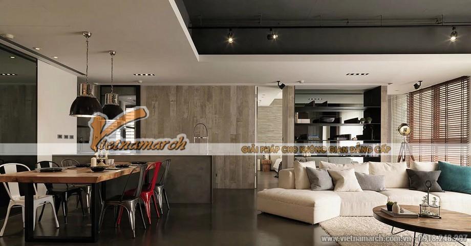 Thiết kế nội thất bàn ăn với tông màu đen thể hiện sự ấm áp