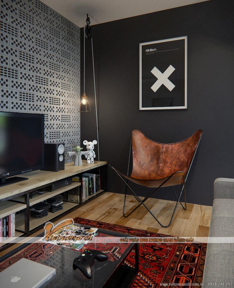 Thiết kế nội thất độc đáo hiện đại trong phòng khách của căn hộ chung cư Park Hill Times City