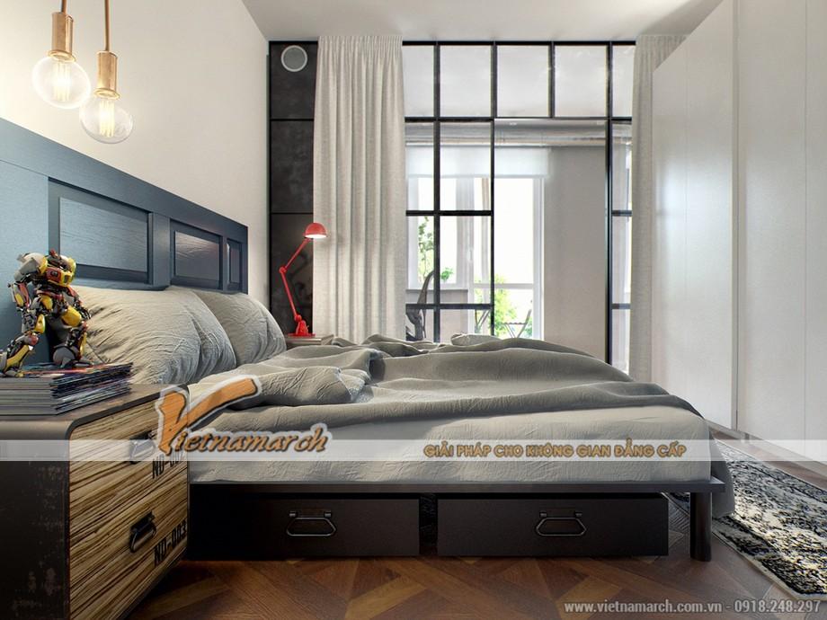 Thiết kế nội thất phòng ngủ nhẹ nhàng với tông màu xám trung tính dễ chịu