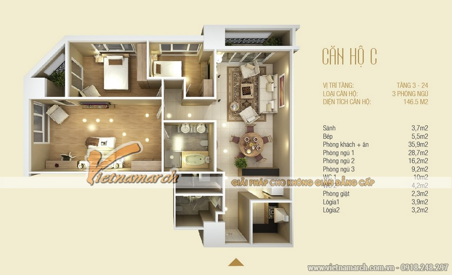 Mặt bằng căn hộ C chung cư D'. LE ROI SOLEIL – Quảng An – Tân Hoàng Minh