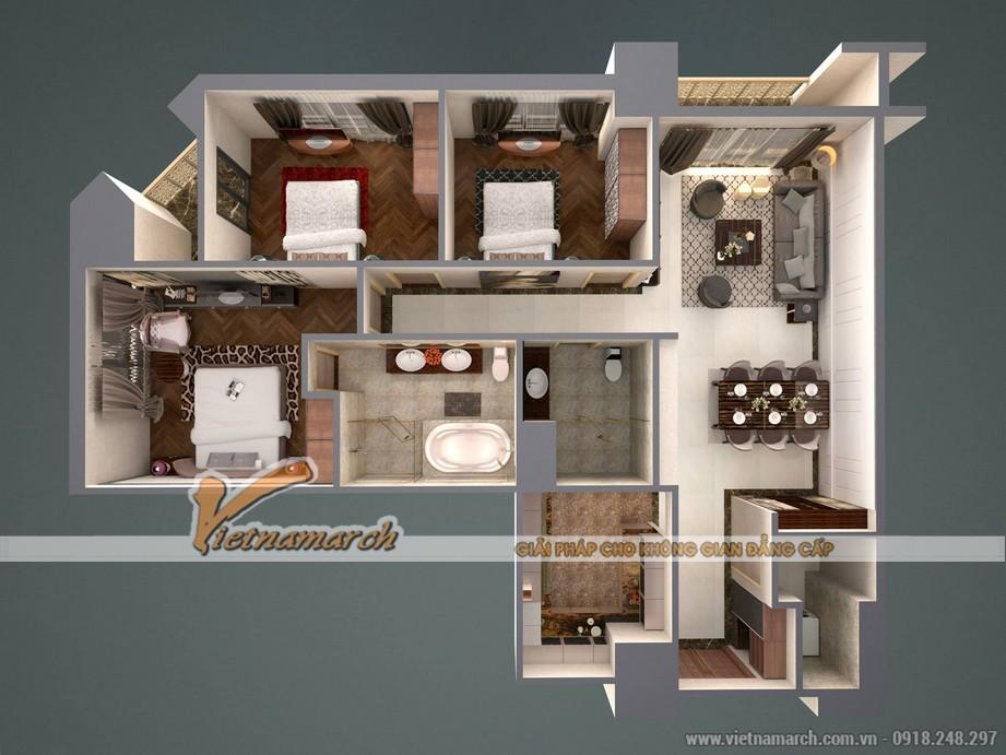 Mặt bằng phương án cải tạo căn hộ mẫu C chung cư D'. LE ROI SOLEIL – Quảng An được đưa ra bởi KTS