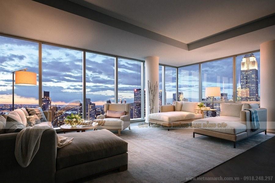 Thiết kế phòng khách với những bộ ghế sofa dài, rộng thể hiện sự hiện đại, tinh tế