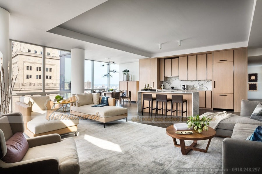 Thiết kế nội thất chung cư với không gian mở đang là sự lựa chọn của nhiều gia đình