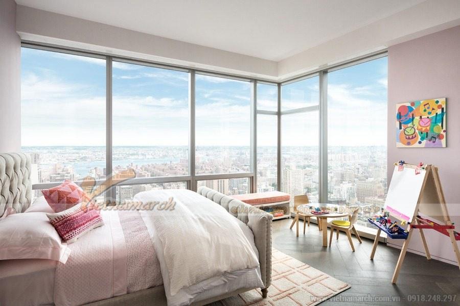 Phòng ngủ của con được thiết kế với đầy đủ góc vui chơi và học tập, nghỉ ngơi