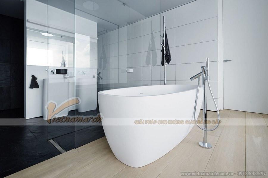 Phòng tắm có sự bố trí nội thất hài hòa mang đến cảm giác dễ chịu mỗi khi bước vào