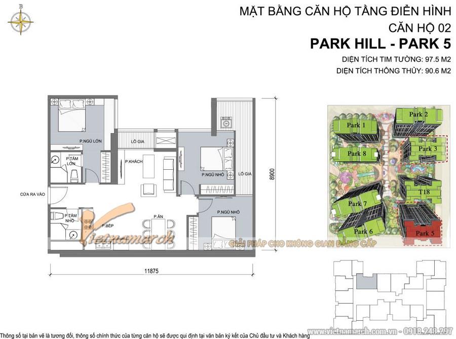 Mặt bằng căn hộ 02 Park 5 chung cư Park Hill