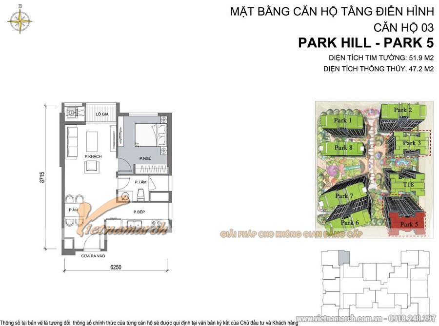 Mặt bằng căn hộ 03 Park 5 chung cư Park Hill