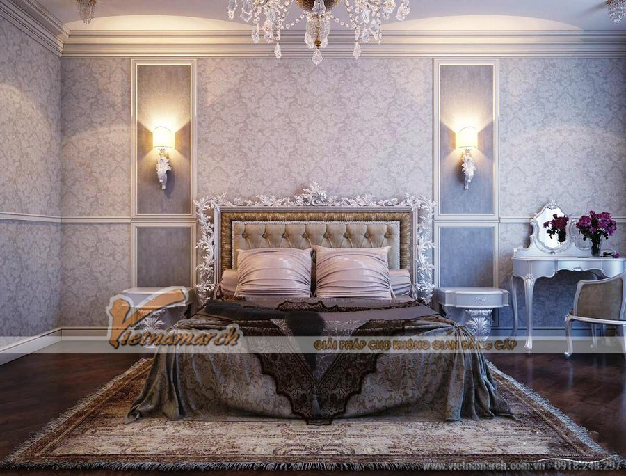 Phòng ngủ được thiết kế tinh tế với gam màu nâu chủ đạo tạo không gian ngọt ngào, lãng mạn