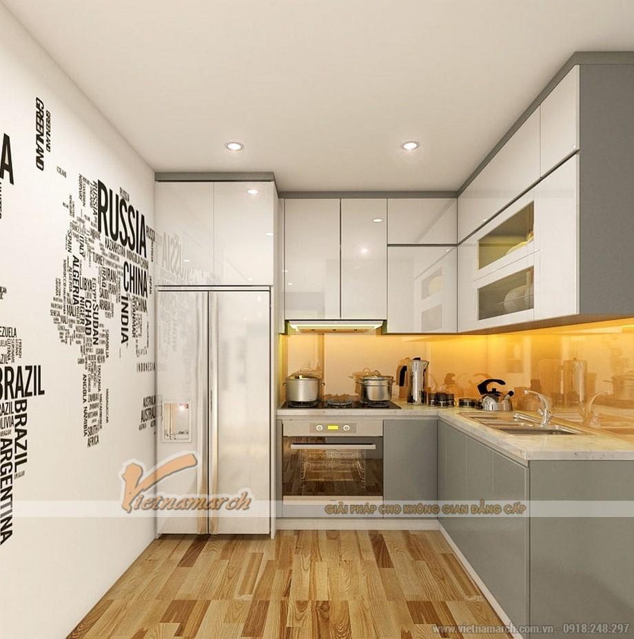 Khu vực bếp nấu hiện đại và gọn gàng với tủ bếp cao cấp