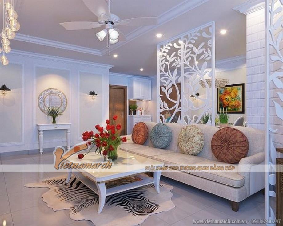 Tông màu trắng bao phủ không gian phòng khách tạo cảm giác rất thanh lịch.