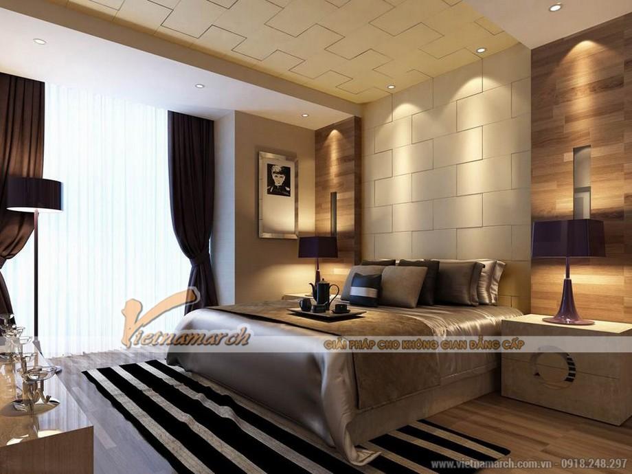 Phòng ngủ với thiết kế tinh tế với gam màu nâu chủ đạo