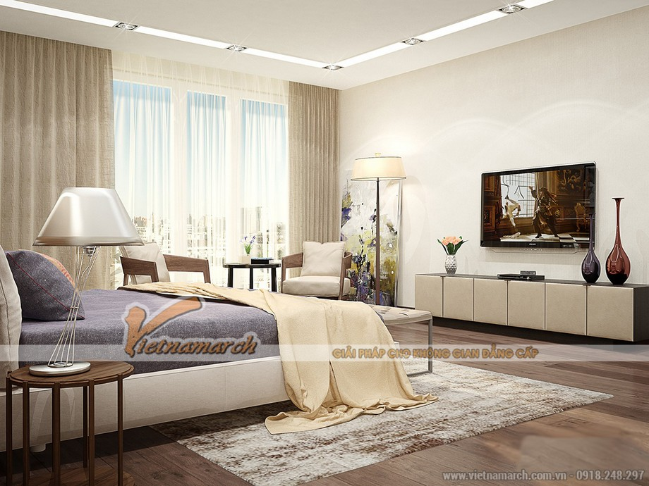 Phòng ngủ sử dụng những gam màu nhẹ nhàng, tươi mới