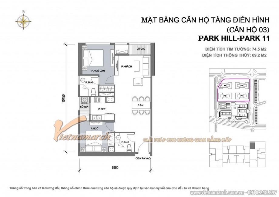 Căn hộ Park 11-03, P11-06 – Diện tích tim tường 74,5m2 – Diện tích thông thủy 69,2m2