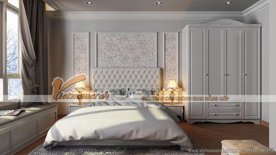 Thiết kế phòng ngủ lớn với gam màu trắng xám thể hiện sự tinh tế trong thiết kế