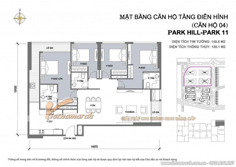 Căn hộ Park 11-04 – Diện tích tim tường 148,8m2 – Diện tích thông thủy 139,1m2