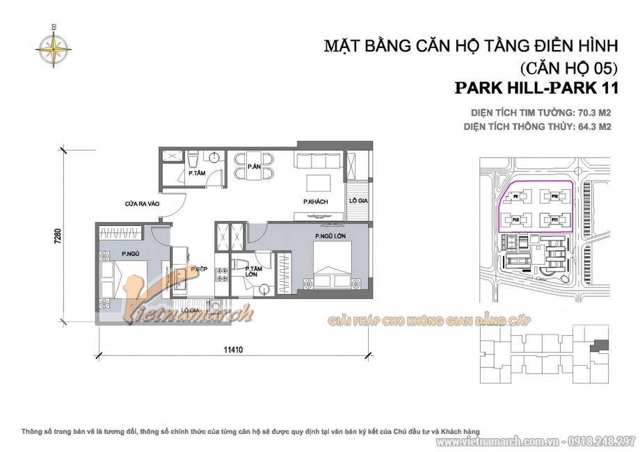 Căn hộ Park 11-05 – Diện tích tim tường 70,3m2 – Diện tích thông thủy 69,3m2