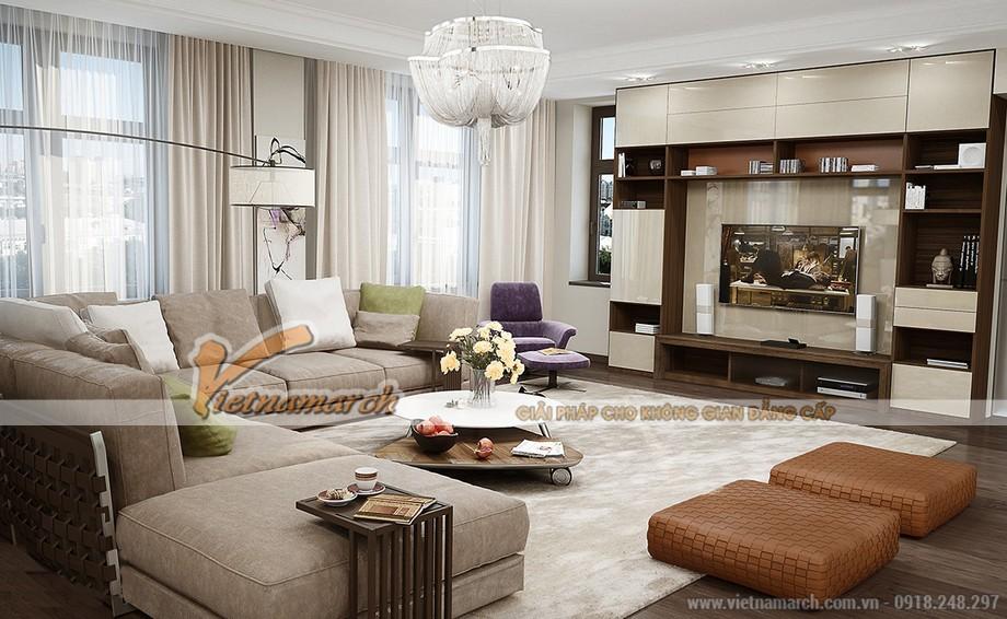 Không gian phòng khách với tông màu nhẹ nhàng