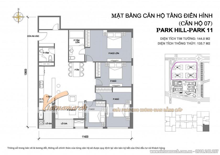 Căn hộ Park 11-07– Diện tích tim tường 144,0m2 – Diện tích thông thủy 135,7m2