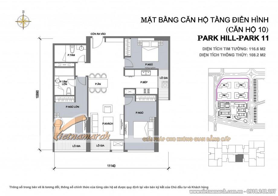 Mặt bằng hiện trạng của căn hộ park 11-10