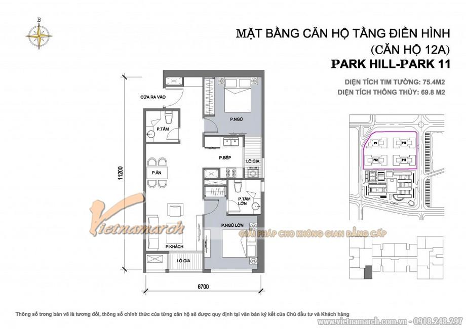 Căn hộ Park 11-12A – Diện tích tim tường 75,4m2 – Diện tích thông thủy 69,8m2
