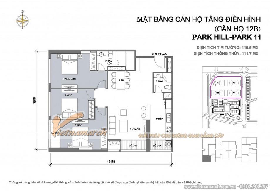 Căn hộ Park 11-12B – Diện tích tim tường 119,5m2 – Diện tích thông thủy 111,7m2