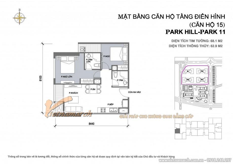 Căn hộ Park11-15, Park11-16– Diện tích tim tường 68,1m2 – Diện tích thông thủy 62,9m2