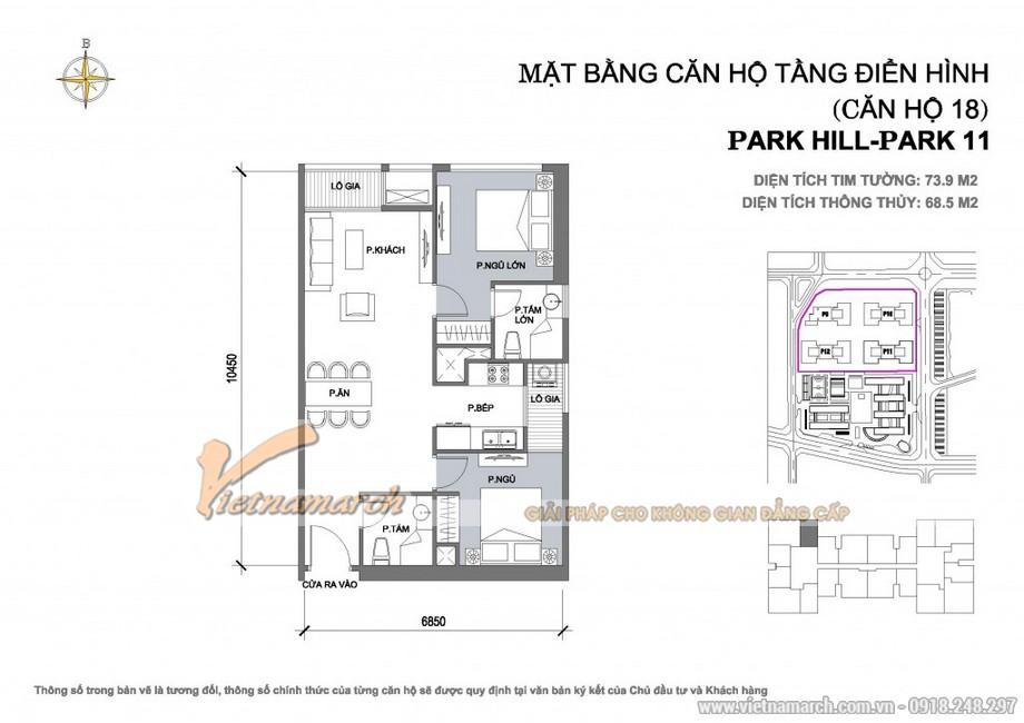 Căn hộ Park11-18 – Diện tích tim tường 73,9m2 – Diện tích thông thủy 68,5m2