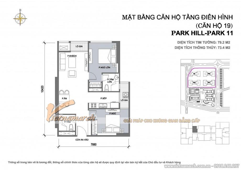 Căn hộ Park11-19 – Diện tích tim tường 79,2m2 – Diện tích thông thủy 73,4m2