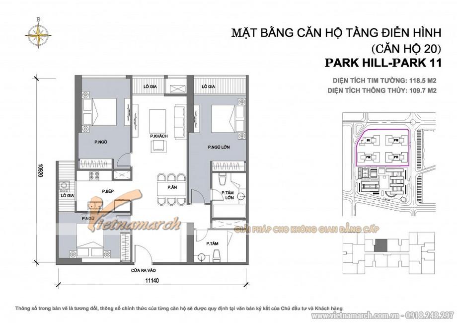 Căn hộ Park11-20 – Diện tích tim tường 118,5m2 – Diện tích thông thủy 109,7m2