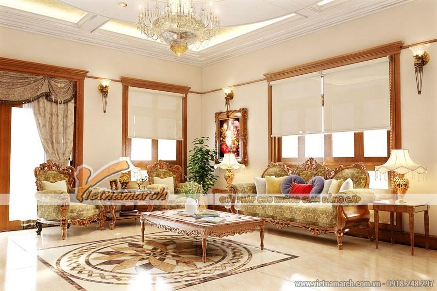 Phòng khách sử dụng gam màu sáng tạo không gian thoáng, rộng