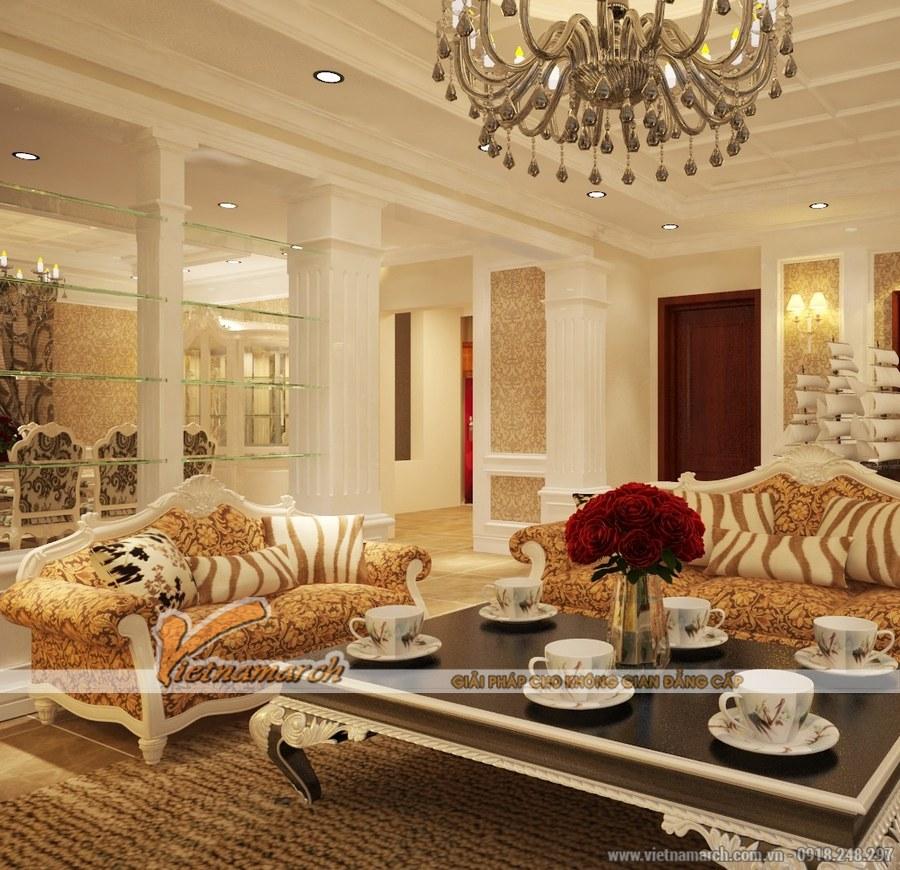 Thiết kế nội thất phòng khách cổ điển kết hợp hiện đại tạo một không gian sang trọng, đầm ấm nhưng không kém phần sinh động.