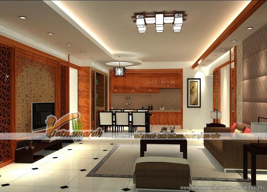 Kết hợp hài hòa giữa các chất liệu:gỗ, gạch, vải,...mang đến một không gian sâu lắng, tinh khôi và tuyệt đẹp - thiết kế nội thất phòng khách