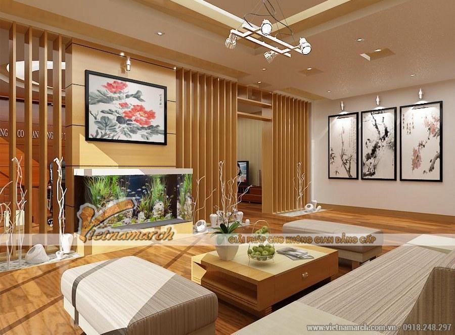 Sử dụng chất liệu gỗ một cách tối ưu kết hợp với ánh sáng tự nhiên tạo cảm giác cho căn phòng thoáng, rộng - thiết kế nội thất phòng khách