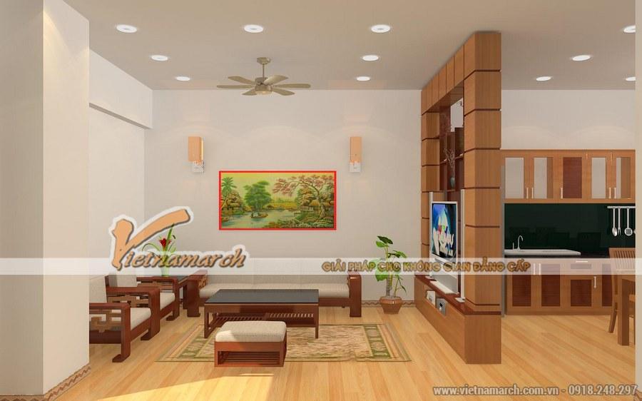 Căn phòng sử dụng tối đa các đồ nội thất bằng gỗ mang đến sự mộc mạc, thoải mái