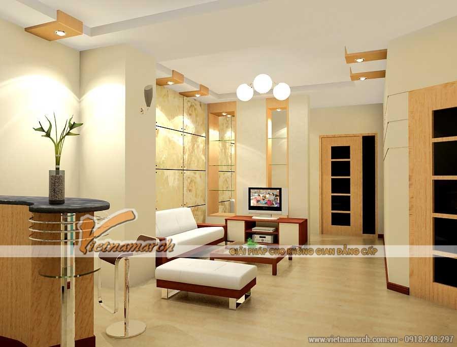 Màu gỗ sáng hài hòa với tông màu trắng, điểm nhấn thêm bởi màu nâu mang đến một không gian phòng khách hiền hòa, thanh bình và nhẹ nhàng