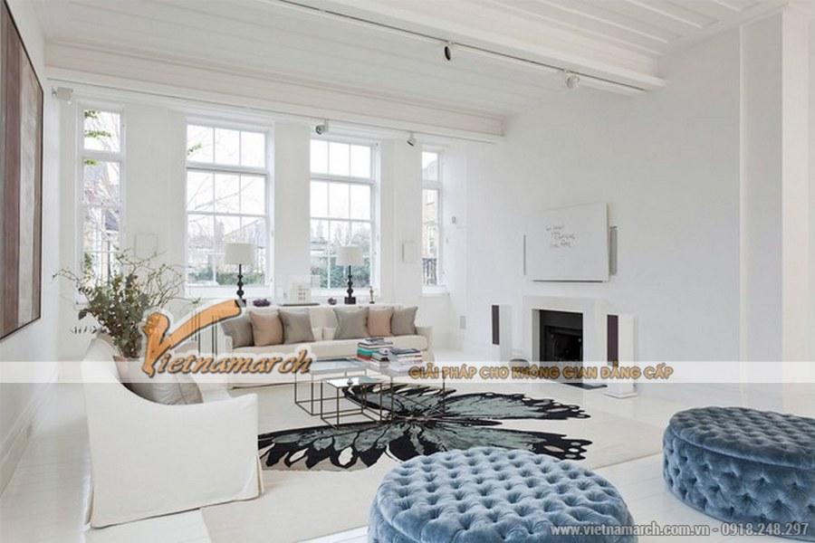 Sử dụng tông màu trắng cho căn phòng giúp phòng khách thêm thoáng đạt, nhẹ nhàng và dịu êm