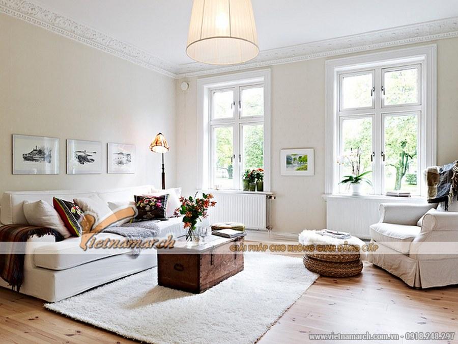 Phối đồ, phối màu một cách hài hòa giữa các màu tương phản với màu trắng mang đến sự tinh tế cho căn phòng - thiết kế nội thất phòng khách