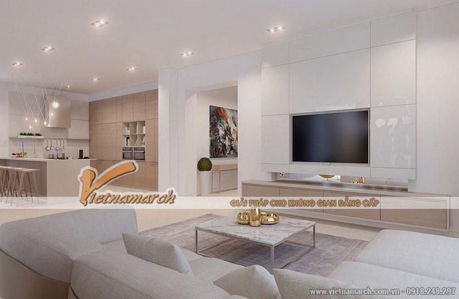 Không gian sinh hoạt chung với tông màu trắng chủ đạo mang đến sự thoáng rộng, ấm áp cho căn phòng