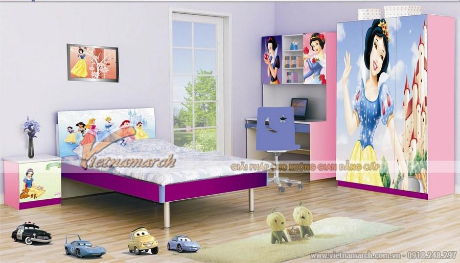 Thiết kế nội thất phòng ngủ cho bé gái với nhiều màu sắc cùng nhiều hình ảnh ngộ nghĩnh, đáng yêu