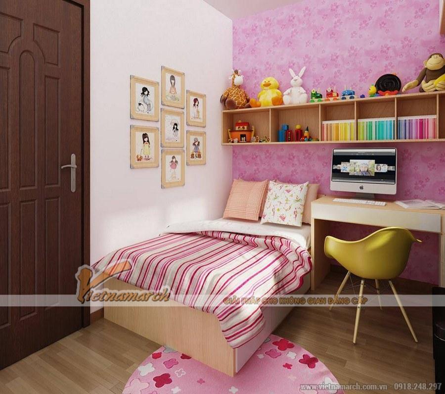 Sử dụng tông màu hồng, trắng làm chủ đạo cho căn phòng thêm nổi bật