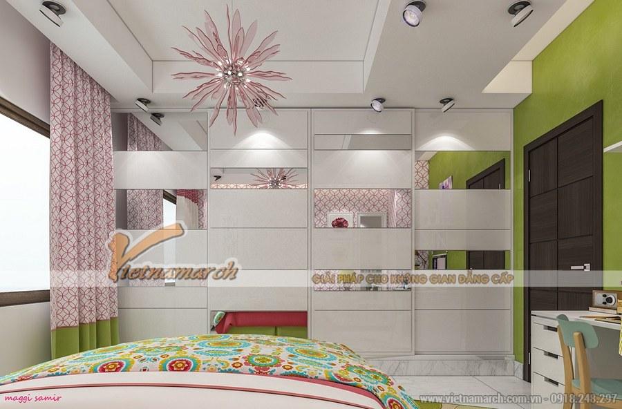Thiết kế nội thất phòng ngủ cho trẻ nên lựa chọn những màu sắc sáng, nổi bật