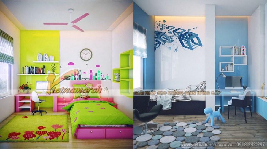 Thiết kế nội thất phòng ngủ cho trẻ cần sử dụng các tông màu đậm, nổi bật để kích thích sự tư duy của trẻ từ sớm