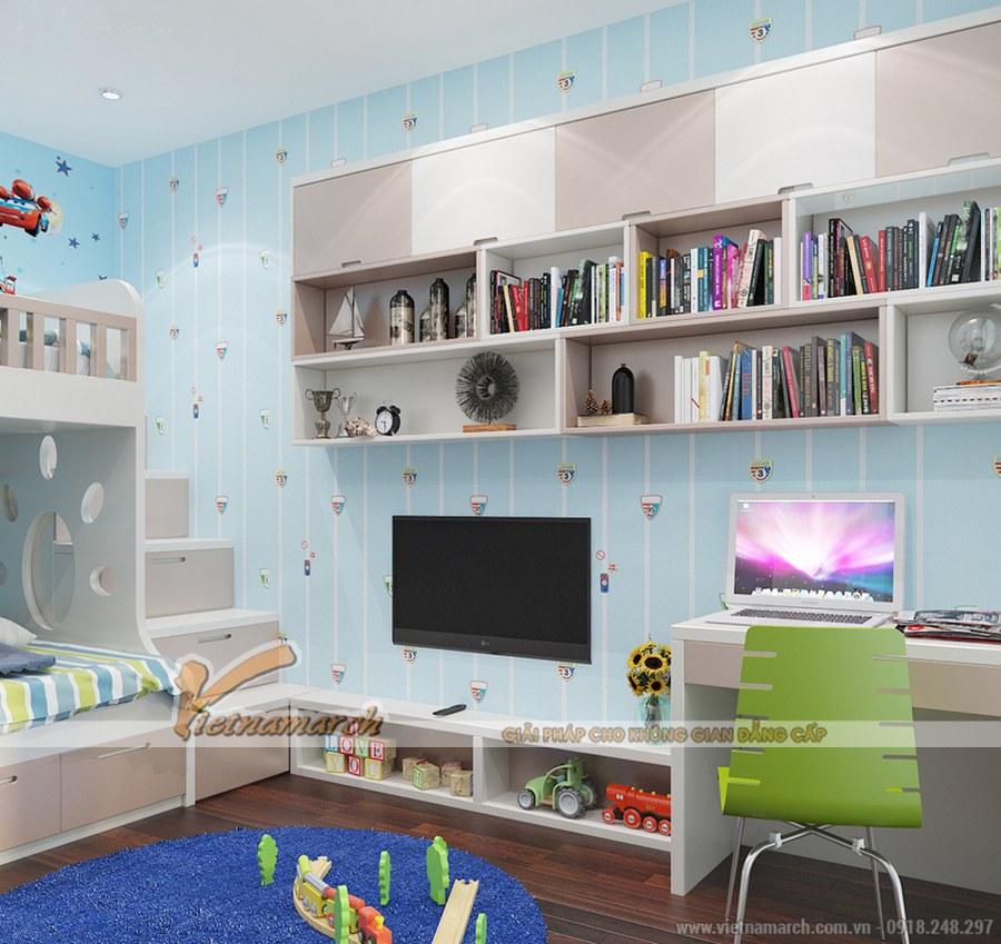 Hệ thống giá sách trải dài, được thiết kế ngay phái trên bàn học và ti vi nên giúp tiết kiệm diện tích căn phòng - thiết kế nội thất phòng ngủ cho trẻ